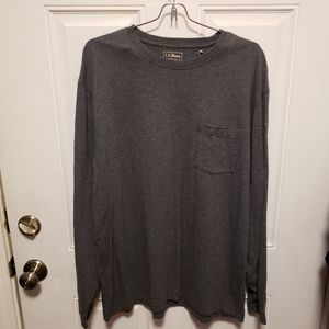 LL Bean Long Sleeve Traditional Fit Grey Crew Neck